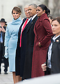 United States President Donald Trump (2nd-L) First Lady Melania Trump (L), former President Barack Obama (2nd-R) and former First Lady Michelle Obama walk together following the inauguration, on Capitol Hill in Washington, D.C. on January 20, 2017. President-Elect Donald Trump was sworn-in as the 45th President. <br /> Credit: Kevin Dietsch / Pool via CNP