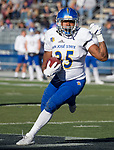 San Jose State's DeJon Packer (35) runs against Nevada in the first half of an NCAA college football game in Reno, Nev. Saturday, Nov. 11, 2017. (AP Photo/Tom R. Smedes)