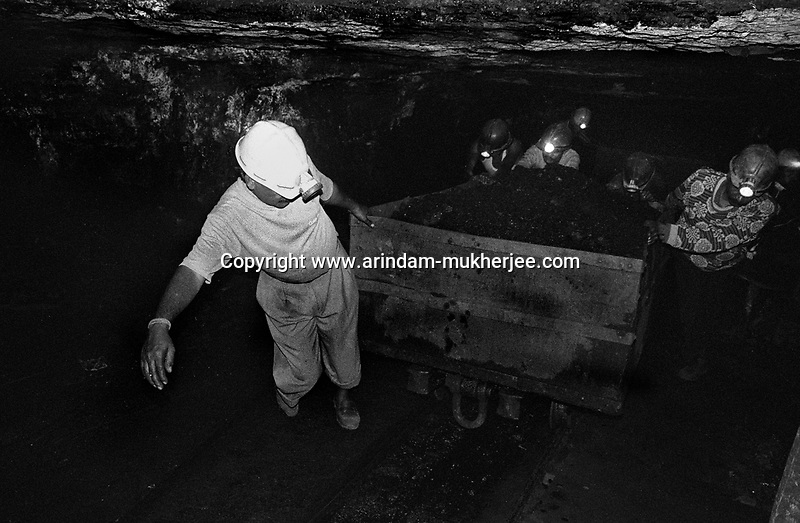 Miners at work inside an underground mine at North Searsole Coliery in Ranigunj, West Bengal, India. Arindam Mukherjee