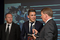 Luke O'Nien (centre) is interviewed by Bill Turnbull (right) after receiving the Young Player of the Year award during the Wycombe Wanderers End of Season 2016 Awards Dinner at Adams Park, High Wycombe, England on 1 May 2016. Photo by David Horn