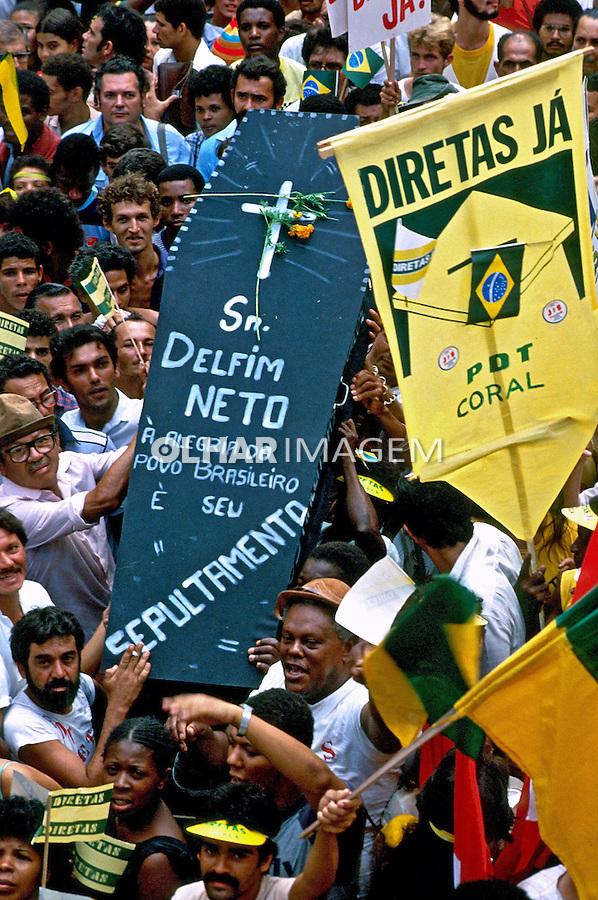 Comício por eleições Diretas no Rio de Janeiro. 1984. Foto de Cynthia Brito.