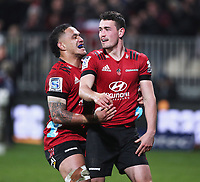 11th July 2020; Christchurch, New Zealand;  Will Jordan celebrates scoring his try. Crusaders versus Blues in the Super Rugby Aotearoa. Orangetheory Stadium, Christchurch,