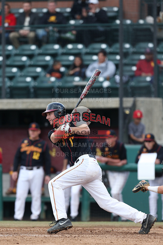 Jeff Paschke #17 of the USC Trojans bats against the Cal Poly Mustangs at Dedeaux Field on March 2, 2014 in Los Angeles, California. Cal Poly defeated USC, 5-1. (Larry Goren/Four Seam Images)