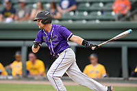 Center fielder Sky Overton (17) of the Furman Paladins bats in a game against the UNC Greensboro Spartans at the Southern Conference Baseball Championship on Saturday, May 27, 2017, at Fluor Field at the West End in Greenville, South Carolina. UNCG won, 12-8. (Tom Priddy/Four Seam Images)
