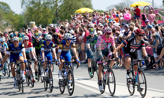 Race leader Tom Dumoulin (NED) Team Giant-Alpecin and Marcel Kittel (GER) Etixx-Quick Step in action during Stage 2 of the 2016 Giro d'Italia running 190km from Arnhem to Nijmegen, The Nethrerlands. 7th May 2016.<br /> Picture: ANSA/Claudio Peri | Newsfile<br /> <br /> <br /> All photos usage must carry mandatory copyright credit (&copy; Newsfile | ANSA/Claudio Peri)