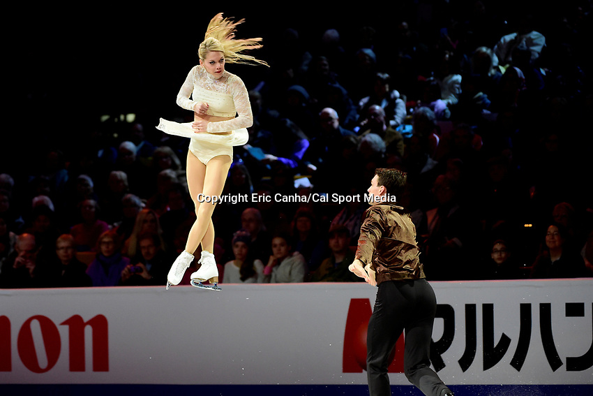 Sunday, April 3, 2016: Alexa Scimeca and Chris Knierim (USA) perform at the International Skating Union World Champions Exhibition, held at TD Garden, in Boston, Massachusetts.Eric Canha/CSM