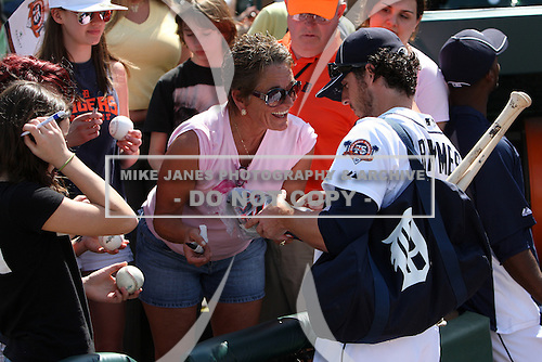 Detroit Tigers Will Rhymes #28 signs autographs before an exhibition game vs. the Florida Southern Mocs at Joker Marchant Stadium in Lakeland, Florida;  February 25, 2011.  Detroit defeated Florida Southern 17-5.  Photo By Mike Janes/Four Seam Images