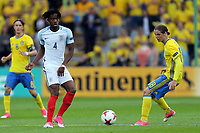 Nathaniel Chalobah of England   and Kristoffer Olsson and Pawel Cibicki of Sweden during Sweden Under-21 vs England Under-21, UEFA European Under-21 Championship Football at The Kolporter Arena on 16th June 2017
