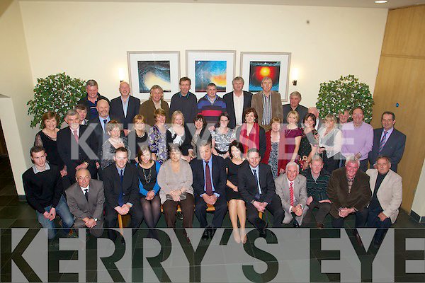 RETIREMENT: John O'Keeffe, Forge Cross, Tralee (seated centre) who retired as carpentry instructor from FAS, Tralee after 32 years enjoying a great time celebrating with family and friends at Ballyroe Heights hotel on Thursday.
