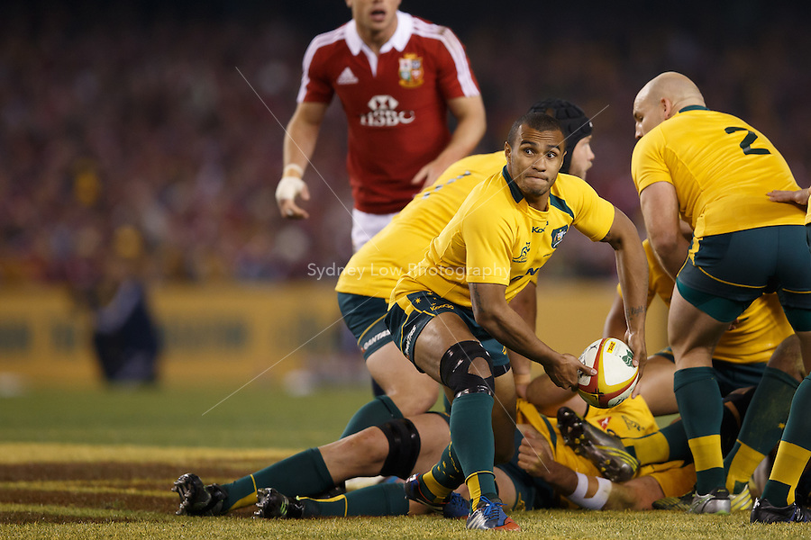 MELBOURNE, 29 JUNE 2013 - Will GENIA of the Wallabies passes the ball during the Second Test match between the Australian Wallabies and the British & Irish Lions at Etihad Stadium on 29 June 2013 in Melbourne, Australia. (Photo Sydney Low / sydlow.com)