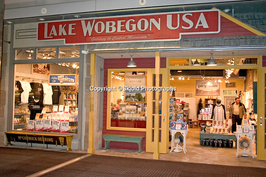 Lake Wobegon USA shop selling items from Garrison Keillor's Minnesota Public Radio variety show A Prairie Home Companion. Located in the Mall of America, the largest indoor retail and entertainment complex in America.  Bloomington Minnesota USA
