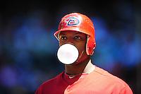 Apr. 27, 2011; Phoenix, AZ, USA; Arizona Diamondbacks outfielder Justin Upton blows a bubble in the fourth inning against the Philadelphia Phillies at Chase Field. Mandatory Credit: Mark J. Rebilas-