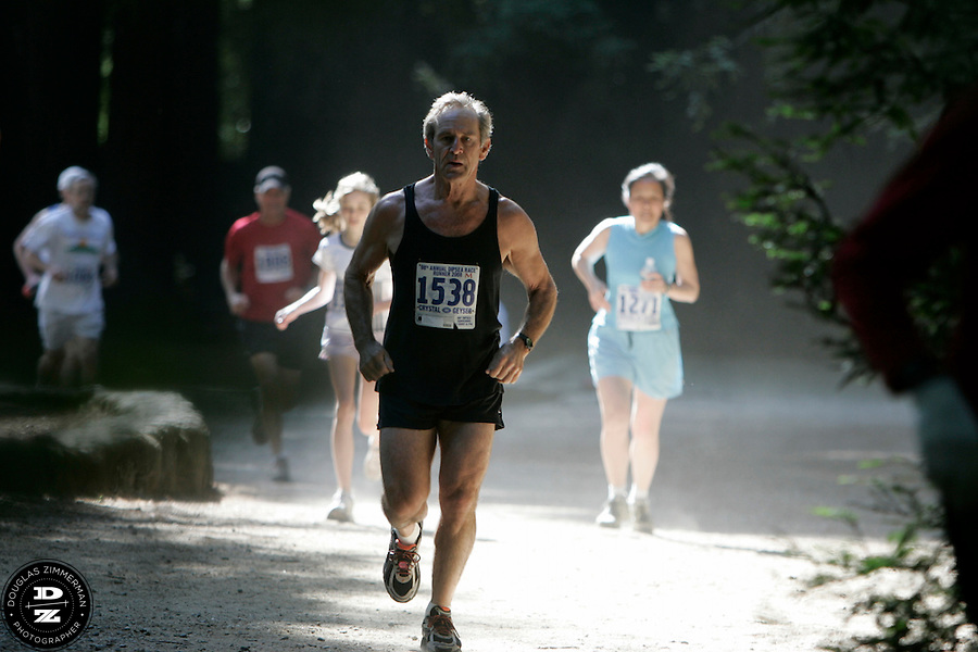 Skip Sandberg (1538) of Mill Valley, Calif. and other runners race through Old Mill Park on their way to the Dipsea stairs in Mill Valley, Calif on Sunday, June 8, 2008.  The Dipsea starts in Mill Valley, goes over Mt. Tamalapais, and ends in Stinson Beach.