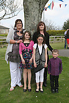 Chanice Roche with her sponsor Nicola Traynor, mum Tracey, Nathan and Natasha at Scoil an Spioraid Naoimh NS Confirmation in Laytown Church...Photo NEWSFILE/Jenny Matthews.(Photo credit should read Jenny Matthews/NEWSFILE)....This Picture has been sent you under the condtions enclosed by:.Newsfile Ltd..The Studio,.Millmount Abbey,.Drogheda,.Co Meath..Ireland..Tel: +353(0)41-9871240.Fax: +353(0)41-9871260.GSM: +353(0)86-2500958.email: pictures@newsfile.ie.www.newsfile.ie.FTP: 193.120.102.198.