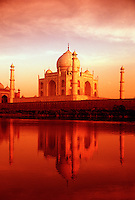 Scenic view of the Taj Mahal reflected in the Yamuna River. Agra, India.