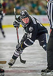 16 November 2013: Providence College Friar Forward Ross Mauermann, a Junior from Janesville, WI, takes a first prior face-off against the University of Vermont Catamounts at Gutterson Fieldhouse in Burlington, Vermont. The Friars shut out the Catamounts to sweep the 2-game weekend Hockey East Series. Mandatory Credit: Ed Wolfstein Photo *** RAW (NEF) Image File Available ***