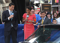 June 18 , 2012 Josh Elliot, Robin Roberts and George Stephanopoulos on Good Morning America in New York City. © RW/MediaPunch Inc. NORTEPHOTO.COM<br />