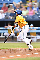 Beer City Tourists third baseman Colton Welker (24) swings at a pitch during a game against the Lakewood BlueClaws at McCormick Field on June 1, 2017 in Asheville, North Carolina. The Tourists defeated the BlueClaws 8-5. (Tony Farlow/Four Seam Images)