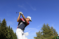 Haydn Porteous (RSA) on the 18th tee during Saturday's Round 3 of the 2018 Omega European Masters, held at the Golf Club Crans-Sur-Sierre, Crans Montana, Switzerland. 8th September 2018.<br /> Picture: Eoin Clarke | Golffile<br /> <br /> <br /> All photos usage must carry mandatory copyright credit (&copy; Golffile | Eoin Clarke)
