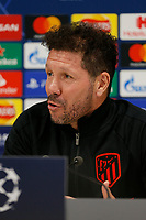 10th March 2020; Anfield, Liverpool, Merseyside, England; UEFA Champions League, Liverpool versus Atletico Madrid, Atletico Press Conference; Atletico coach Diego Simeone speaking to the media during today's press conference at Anfield ahead of tomorrow's Champions League match against Liverpool