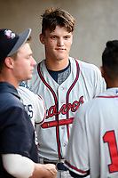 Designated hitter Bryce Ball (45) of the Rome Braves in a game against the Columbia Fireflies on Saturday, August 17, 2019, at Segra Park in Columbia, South Carolina. Rome won, 4-0. (Tom Priddy/Four Seam Images)