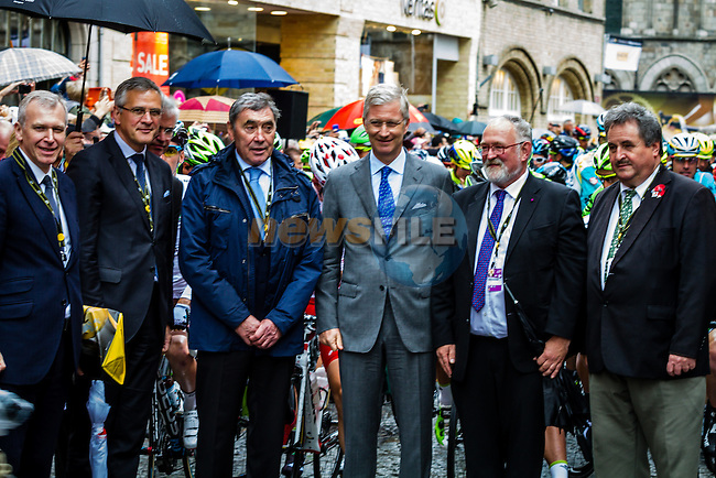 Eddy Merckx and King Phillipe of Belgium, Tour de France, Stage 5: Ypres > Arenberg Porte du Hainaut, UCI WorldTour, 2.UWT, Wallers, France, 9th July 2014, Photo by Thomas van Bracht / Peloton Photos