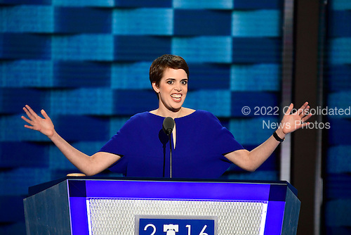 Brooks Bell a tech entrepreneur from North Carolina makes remarks during the third session of the 2016 Democratic National Convention at the Wells Fargo Center in Philadelphia, Pennsylvania on Wednesday, July 27, 2016.<br /> Credit: Ron Sachs / CNP<br /> (RESTRICTION: NO New York or New Jersey Newspapers or newspapers within a 75 mile radius of New York City)