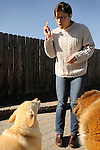 Matisse Weigle feeding dog reward biscuit. Training to sit.