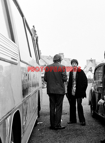 Beatles 1967 Paul McCartney with Mal Evans at a stop during  Magical Mystery Tour