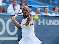 Washington, DC - August 9, 2015:  Sloane Stephens (USA) in action during the WTA Citi Open final at Rock Creek Park Tennis Center in Washington, DC  August 9, 2015.  (Photo by Elliott Brown/Media Images International)
