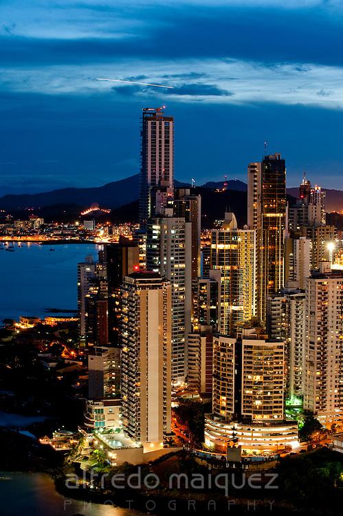 Sunset cityscape of Panama city. Panama province, Panama, Central America.