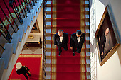 United States President Barack Obama and President Felipe Calderón of Mexico descend the Grand Staircase at the White House, prior to the State Dinner, Wednesday, May 19, 2010. .Mandatory Credit: Pete Souza - White House via CNP