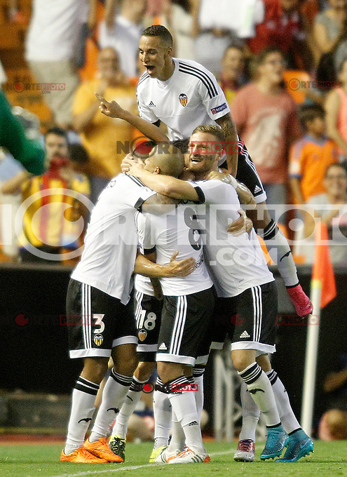 Valencia's players celebrate goal during Champions League 2015/2016 Play-Offs 1st leg match. August  19,2015. (ALTERPHOTOS/Acero)
