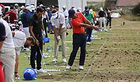 Gran cantidad de jugadores espa&ntilde;oles en el campo de pr&aacute;cticas. Jorge Campillo (ESP) joined by Pedro Oriol (ESP) and Carlos Pigem (ESP) on the practice ground during the ASI Scottish Open 2018, at Gullane, East Lothian, Scotland.  11/07/2018. Picture: David Lloyd | Golffile.<br /> <br /> Images must display mandatory copyright credit - (Copyright: David Lloyd | Golffile).