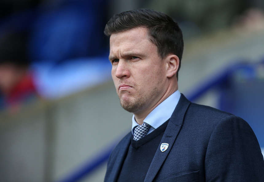 Chesterfield manager Gary Caldwell <br /> <br /> Photographer Alex Dodd/CameraSport<br /> <br /> The EFL Sky Bet League One - Bolton Wanderers v Chesterfield - Saturday 1st April 2017 - Macron Stadium - Bolton<br /> <br /> World Copyright &copy; 2017 CameraSport. All rights reserved. 43 Linden Ave. Countesthorpe. Leicester. England. LE8 5PG - Tel: +44 (0) 116 277 4147 - admin@camerasport.com - www.camerasport.com