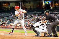 Philadelphia Phillies pinch hitter John Bowker #16 at bat during the Major League Baseball game against the Houston Astros at Minute Maid Park in Houston, Texas on September 13, 2011. Houston defeated Philadelphia 5-2.  (Andrew Woolley/Four Seam Images)