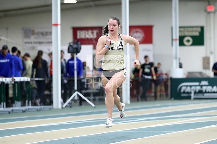 WINSTON-SALEM, NC - FEBRUARY 07: Grace Hofferber #4 of Wake Forest University sprints to the line in the Women's 200 Meters at JDL Fast Track on February 07, 2020 in Winston-Salem, North Carolina.