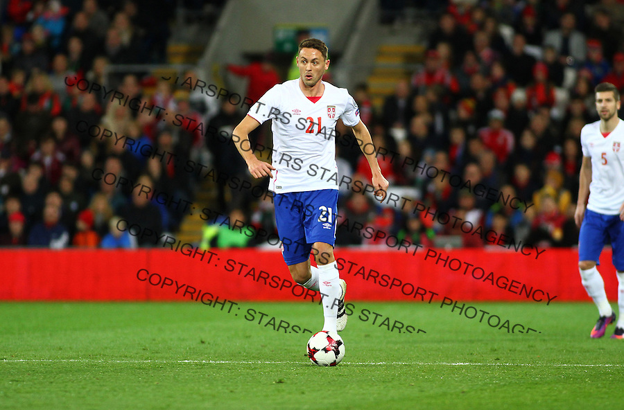 (copyright &amp; photo: STARSPORT)<br /> 12.11.16 World Cup Qualifier -  European Group D - Wales v Serbia -<br /> Nemanja Matic of Serbia