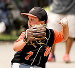 WATERBURY, CT-0712117JS12--Water-Oak's Quinn Delaney (7) delivers a pitch during their consolation bracket game against the Bonnie's of Brooklyn, in the Roberto Clemente Tournament Thursday at the Waterbury PAL field. <br /> Jim Shannon Republican-American