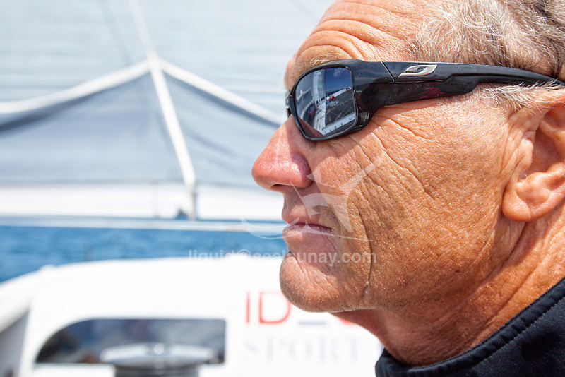 "Onboard the trimaran IDEC SPORT skippered by Francis Joyon, preparing to take part in ""La Route du Rhum"" destination Guadeloupe, the fortieth edition of which starts from St. Malo on 4th November, La Trinité-sur-Mer, Brittany, France."