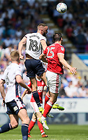 Bolton Wanderers' Aaron Wilbraham competing with Nottingham Forest's Jack Hobbs<br /> <br /> Photographer Andrew Kearns/CameraSport<br /> <br /> The EFL Sky Bet Championship - Bolton Wanderers v Nottingham Forest - Sunday 6th May 2018 - Macron Stadium - Bolton<br /> <br /> World Copyright &copy; 2018 CameraSport. All rights reserved. 43 Linden Ave. Countesthorpe. Leicester. England. LE8 5PG - Tel: +44 (0) 116 277 4147 - admin@camerasport.com - www.camerasport.com