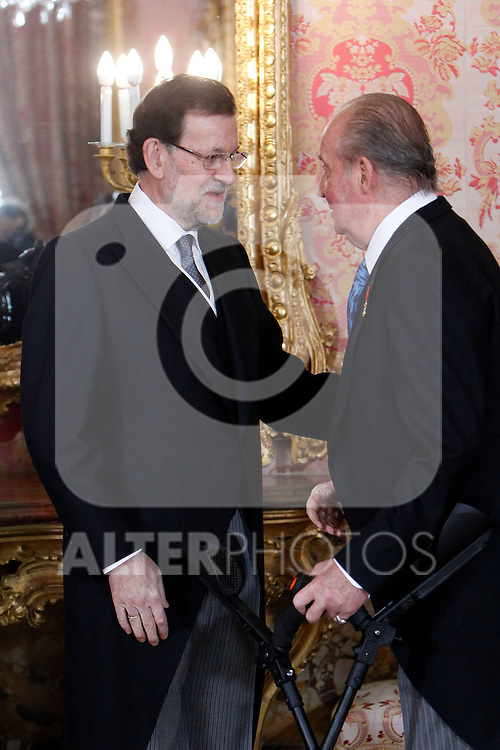 King Juan Carlos of Spain and Prime Minister of Spain Mariano Rajoy attends the reception of the diplomatic corps in Spain at Palacio Real. January 23, 2013. (ALTERPHOTOS/Caro Marin)