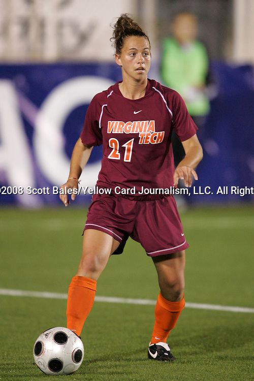 07 November 2008: Virginia Tech's Kim Hickey. The University of Virginia and Virginia Tech played to a 1-1 tie after 2 overtimes at WakeMed Stadium at WakeMed Soccer Park in Cary, NC in a women's ACC tournament semifinal game.  Virginia Tech advanced to the final on penalty kicks, 2-1.