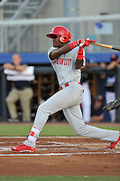 Right fielder DeAndre Asbury-Heath (5) of the Johnson City Cardinals bats in a game against the Danville Braves on Friday, July 1, 2016, at Legion Field at Dan Daniel Memorial Park in Danville, Virginia. Johnson City won, 1-0. (Tom Priddy/Four Seam Images)