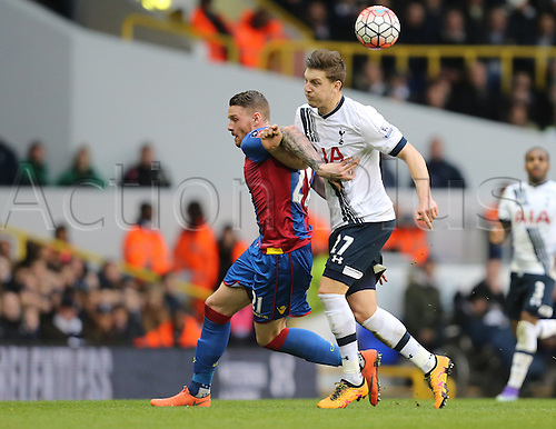 21.02.2016. White Hart Lane, London, England. Emirates FA Cup 5th Round. Tottenham Hotspur versus Crystal Palace. Kevin Wimmer holds off Connor Wickham