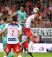 KORTRIJK , BELGIUM - AUGUST 03 : Ryota Morioka of Charleroi pictured in a duel with Elohim Rolland (right) of Kortrijk during the Jupiler Pro League match day 2 between Kv Kortrijk and Sporting Charleroi on August 03 , 2019 in Kortrijk , Belgium . ( Photo by David Catry / Isosport )