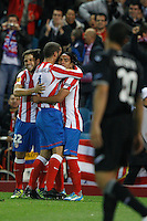 19.04.2012 MADRID, SPAIN - UEFA Europa League 11/12 Semi Finals match played between At. Madrid vs Valencia (4-2) at Vicente Calderon stadium. the picture show  Atletico de Madrid players celebrating his team's goal