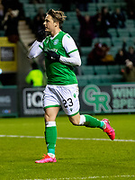 28th January 2020; Easter Road, Edinburgh, Scotland; Scottish Cup replay, Football, Hibernian versus Dundee United; Scott Allan of Hibernian celebrates the equaliser from the penalty spot to make it 1-1 in the 40th minute