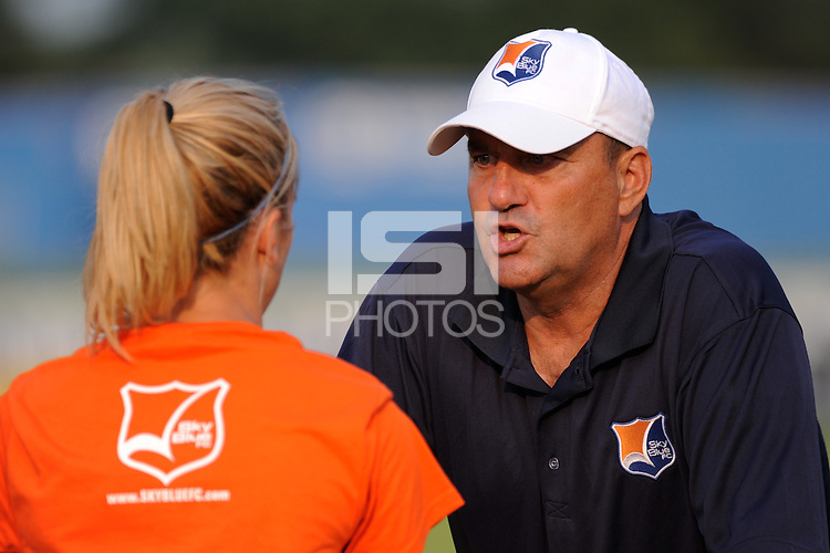 Sky Blue FC assistant coach Mike Lyons talks with Kacey White (20) before the game. Sky Blue FC defeated FC Gold Pride 2-0 during a Women's Professional Soccer match at Yurcak Field in Piscataway, NJ, on August 05, 2009.