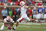 Rutgers Scarlet Knights kicker Kyle Federico (1) in action during the game between the Rutgers Scarlet Knights and the SMU Mustangs at the Gerald J. Ford Stadium in Dallas, Texas.  Rutgers leads SMU 21 to 7 at halftime.